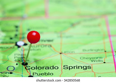 Colorado Springs pinned on a map of USA