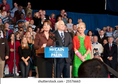 COLORADO SPRINGS - SEPTEMBER 6, 2008: John McCain and Sarah Palin speak to the crowd at a rally in Colorado on September 6, 2008.
