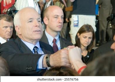 COLORADO SPRINGS - SEPTEMBER 6, 2008: John McCain greets the crowd at a rally in Colorado on September 6, 2008.