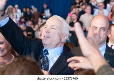 COLORADO SPRINGS - SEPTEMBER 6, 2008: John McCain greets the crowd after speaking at a rally in Colorado on Sept. 6, 2008.