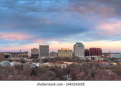 Colorado Springs, Colorado, USA downtown city skyline at dusk.
