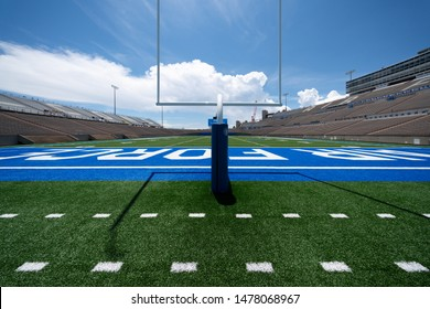 Colorado Springs, Colorado / USA - July 13 2019: Wide angle view of empty football field at the Air Force Academy Falcon Stadium