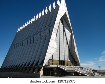 Colorado Springs, Colorado USA - October 24, 2012: The dramatic lines of the U.S. Air Force Academy Cadet Chapel, important modern architectural work designed by Walter Netsch in 1962.