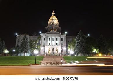 Colorado State Capital Building in Denver Colorado at night on September 12 2015
