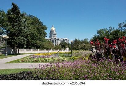 Colorado state capitol building in Denver, from the Civic Center Park.