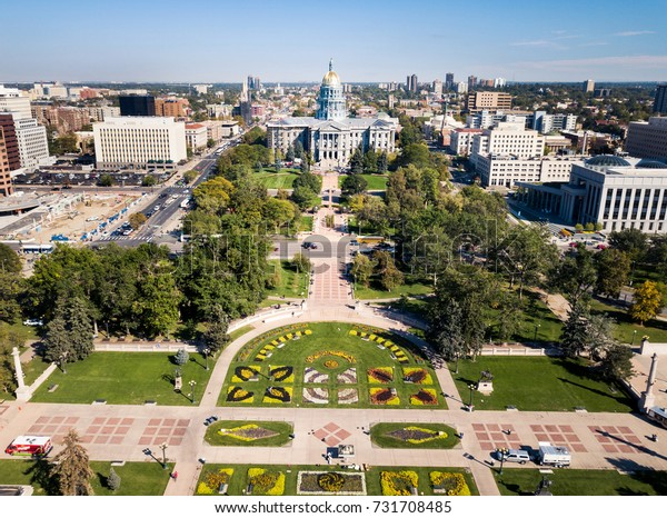 Colorado State Capitol building in Denver aerial view