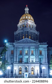Colorado State Capitol Building at Night. Downtown Denver, Colorado, United States. Designed and Constructed in 1890s.