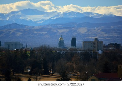 Colorado State Capitol Building with the Rocky Mountains In the Background on a Sunny Winter Day