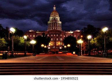 The Colorado State Capitol buillding at night - note this is an HDR image and contains some exaggerated colors, etc