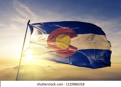 Colorado state flag textile cloth fabric waving on the top