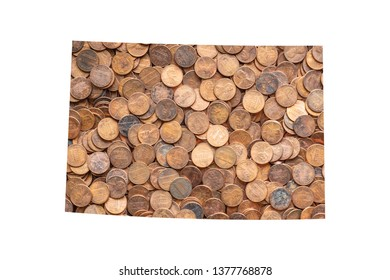 Colorado State Map and Money Concept, Piles of Coins, Pennies