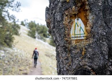 Colorado Trail sign near Kenosha Pass, Colorado