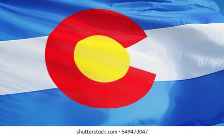 Colorado (U.S. state) flag waving against clear blue sky, close up, isolated with clipping path mask alpha channel transparency, perfect for film, news, composition