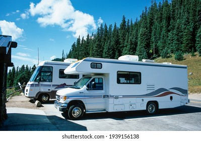 Colorado, USA - 09 23 1998: Tourists are parking with their mobile homes at a vista point