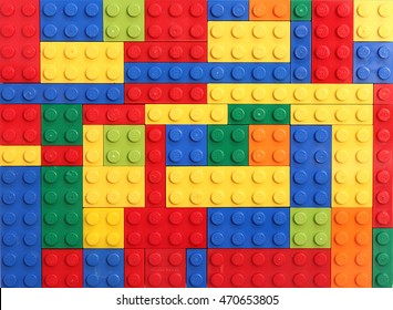 Colorado, USA - August 18, 2016: Studio shot of colorful LEGO bricks background.