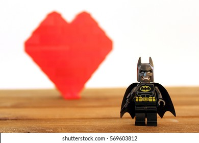 Colorado, USA - January 26, 2017: Studio shot of Lego minifigure Batman and with heart in background.