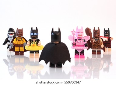 Colorado, USA - January 7, 2017: Studio shot of LEGO Batman looking at a group of funny Batman minifigures dressed up.