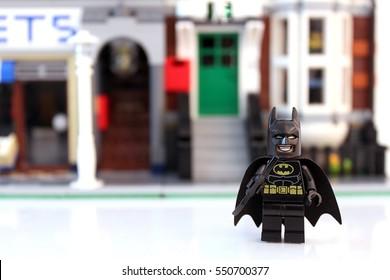 Colorado, USA - January 7, 2017: Studio shot of LEGO Batman standing outside a city street.