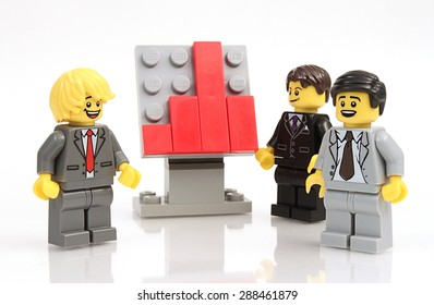 Colorado, USA - June 11, 2015: Studio shot of Lego minifigure businessmen. Legos are a popular line of plastic construction toys manufactured by The Lego Group, a company based in Denmark.