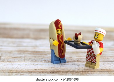 Colorado, USA - May 17, 2017: Studio shot of Lego minifigure Hot Dog Guy and Hot Dog Man.