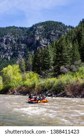 Colorado, USA - May 3 2019: River rafting in Glenwood Canyon, Colorado, USA