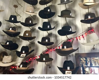 COLORADO, USA - MAY 5, 2017: Cowboy hats on sale displayed on a wall in a hat store in Colorado, USA.