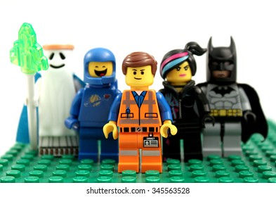 Colorado, USA - November 26, 2015: Lego minifigures from Lego movie work together with Emmet leading the way.