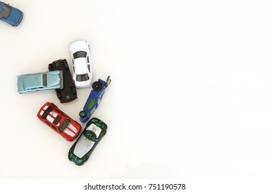 Colorado, USA - November 8, 2017: Studio shot of a variety of toy cars isolated on white background.