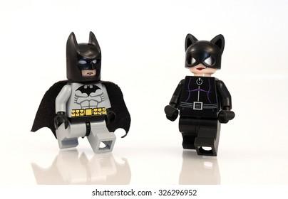 Colorado, USA - October 10, 2015: Studio shot of Lego minifigure Batman and Catwoman.
