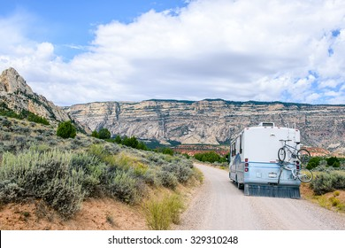COLORADO, USA - SEPT 4: RV Motorhome traveling in Colorado, USA. RV Camping in the mountains on September 4, 2015