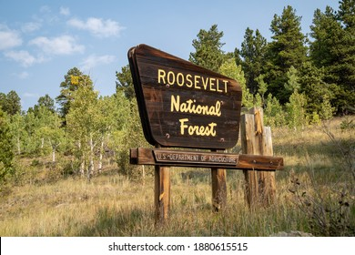 Colorado, USA - September 18, 2020: Sign for the Roosevelt National Forest in Colorado