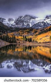 Colorado's iconic Maroon Bells at autumn.  Near Aspen, these mountains are located in the Maroon Bells - Snowmass Wilderness