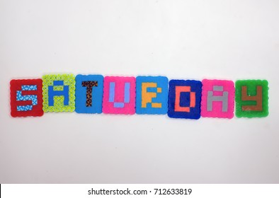 Colorblock fused bead word Saturday