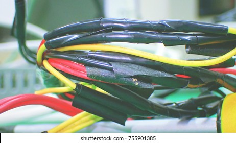 Color-coded wiring harness with black tape