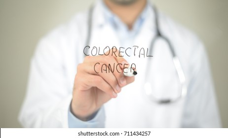Colorectal Cancer , Doctor writing on transparent screen