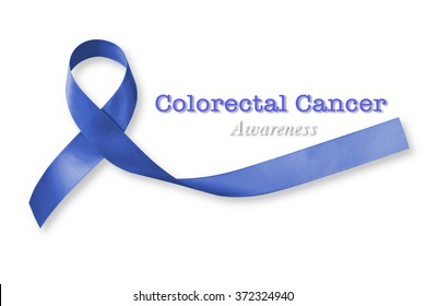 Colorectal Colon cancer awareness with dark blue ribbon on white background with clipping path