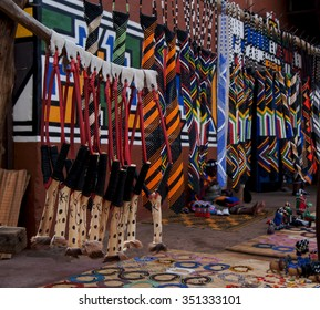 colored African ornaments made of beads and a slingshot, national decorations South Africa