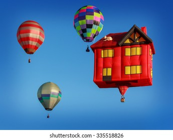 colored air balloons at the blue sky, New Zealand festival