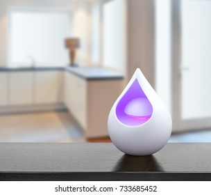 Colored air freshener in glass container in  modern kitchen