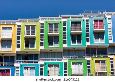Colored apartments in Valparaiso, Chile.
