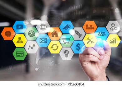 Colored applications icons and graphs on virtual screen. Business, internet and technology concept.