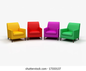 Colored armchair on white background - digital artwork