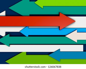 Colored arrows different direction