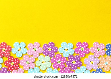 Colored background with decorative flowers and copy space