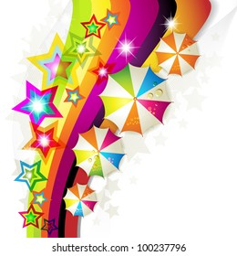 Colored background with colored stars and umbrellas
