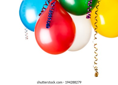 colored balloons isolated on white with hanging holiday streamers