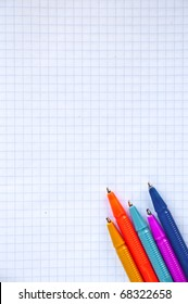 Colored ballpoint pen on graph paper