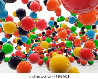 colored balls isolated on white background