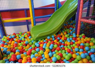 Colored balls in playground pool