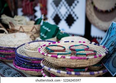 Colored Bamboo traditional basket hand made in Saudi Arabia